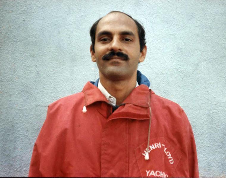Photo: Sail off-Photo in oil skins at Naval Sailing Club, Mumbai (Sep 1985)