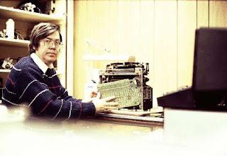 Photo: John Wilson fixing a Teletype Model 40 Printer      (k0ip)