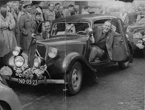 Photo: My father behind the steering wheel, Tulpenrally, finish Noordwijk, The Netherlands