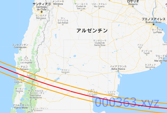 20201214皆既日食帯のルートマップ