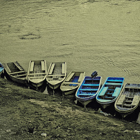 On the edge by Muhammad Gujjar - Transportation Boats ( boats, even, ravi, river,  )