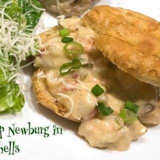 Shrimp Newburg in Puff Pastry Shells.