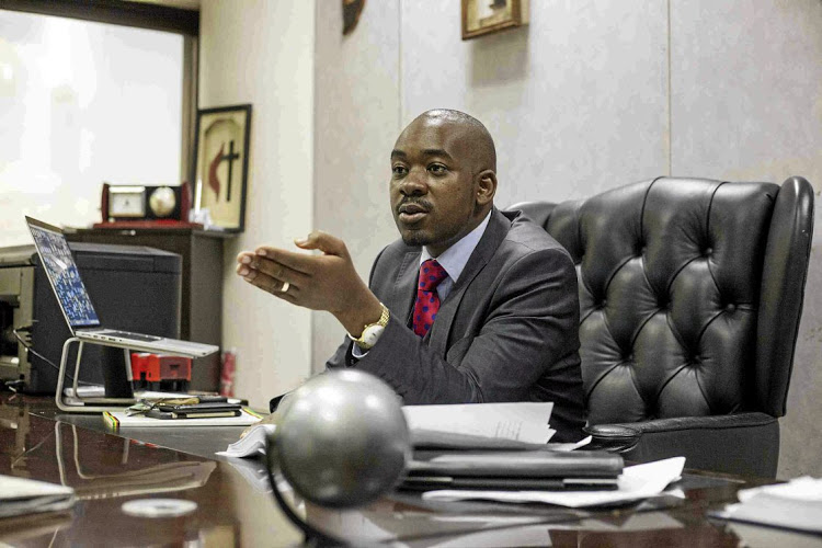 Nelson Chamisa, the losing presidential candidate of the opposition MDC Alliance in Zimbabwe.