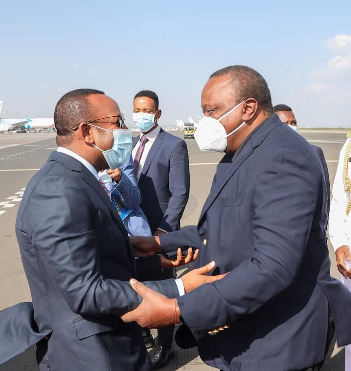 President Uhuru Kenyatta welcomed in Addis Ababa, Ethiopia.