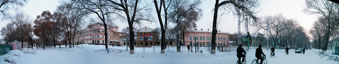 Photo: panorama of QRRS workers palace square, an old time architecture, after a snowing night during all over China smog, ie. air pollution, on way benzrad 朱子卓 check-in his QRRS employee card in his office. praying sanity in the white.