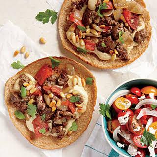 "Ground Lamb and Hummus Pita ""Pizzas""."