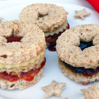 Peanut Butter and Jelly Linzer Sandwiches.