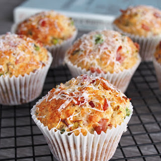 Savory Muffins with Parmesan, Bacon and Spring Onions