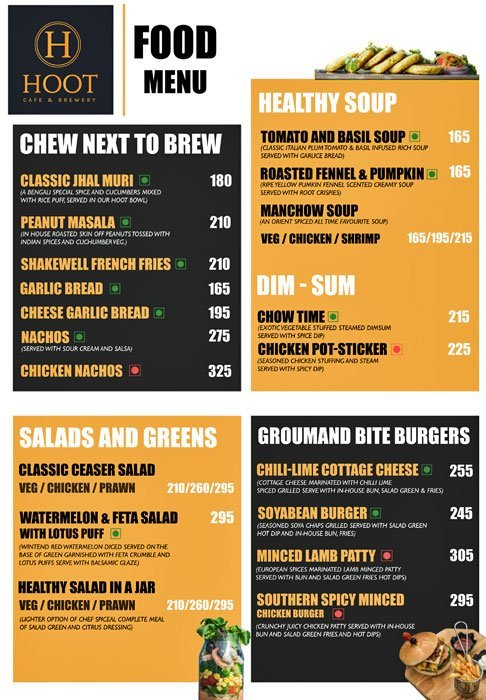 Hoot Brewery & Cafe menu 2