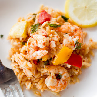 One Pot Veggie Shrimp Orzo