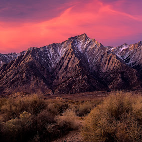 Lone Pine Peak by Evver Gonzalez - Landscapes Mountains & Hills ( dramatic sky, inyo national forest, landscape photography, mountains, evver g photo, nature, sony alpha, eastern sierra, inyo, clouds, southern california, cloudporn, granite, high sierra, mount whitney, sierra nevada, california, dawn, desert, travel, landscape )