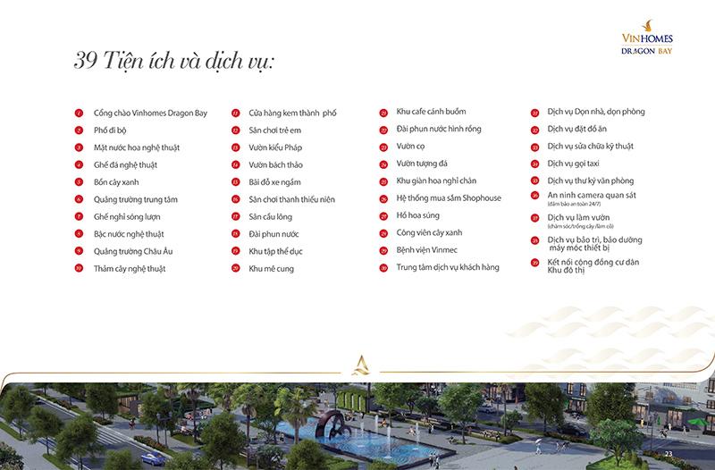 39 Tiện ích và dịch vụ tại Vinhomes Dragon Bay