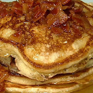 Bacon Pancakes with Maple Bourbon Butter Sauce.