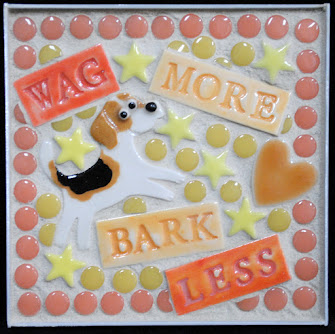 Wag More Bark Less Beagle Mini Mosaic by Brenda Pokorny