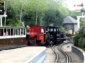Photo: 008 A quick glimpse of another train setting off from the main station on its journey to Oak Tree and the big balloon loop around the main field headed by the newly restored American 0-4-0 Davenport loco and the ex Surrey County Council Hudswell Clarke 0-6-0WT, works no. 1643 of 1930 .