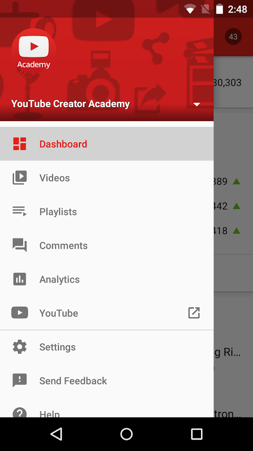 Screenshots of YouTube Creator Studio for iPhone