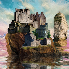 Winterscape by Charlie Alolkoy - Illustration Buildings ( water, mountain, sky, winter, castle, town )