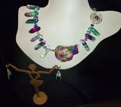 Photo: BIRDSONG - ЦВІРІНЬ! - copper enamel pendant, fluorite, silver vermeil beads & wire, SS chains/hook clasp/French wires SOLD/ПРОДАНИЙ
