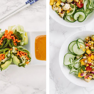 Summer Chopped Chicken Salad with Spiralized Cucumbers and Salsa Verde.