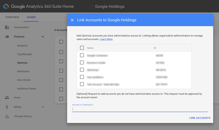 Link Optimize account to Suite Organization.