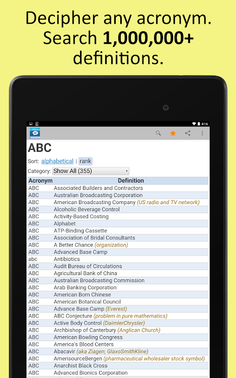 Acronyms and Abbreviations – (Android Applications) — AppAgg