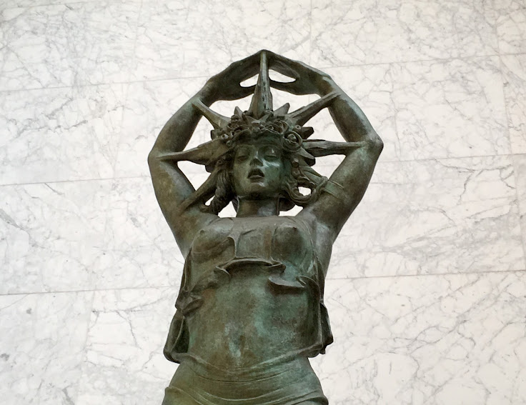 "A close up of ""Star Girl"" by Alexander Stirling Calder."