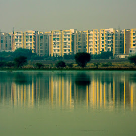 Building reflection in lake water by Basant Malviya - Buildings & Architecture Other Exteriors ( buliding, reflection, lakes )