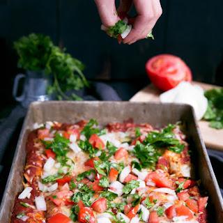 Skinny Refried Bean & Chicken Enchiladas with Homemade Enchilada Sauce.