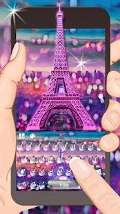 Romantic Raindrop Eiffel Keyboard Theme - náhled