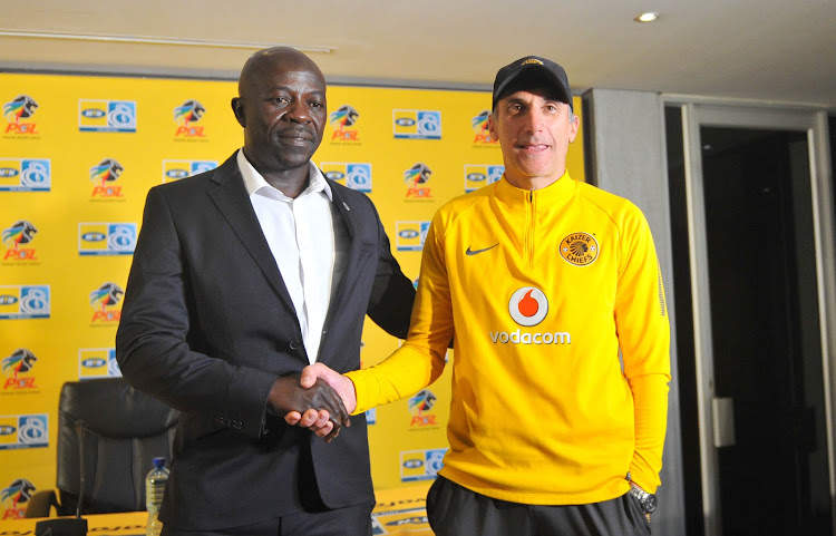 Kaitano Tembo coach of SuperSport United and Giovanni Solinas coach of Kaiser Chiefs during the Kaizer Chiefs Press Conference on the 23 August 2018 at PSL Offices.