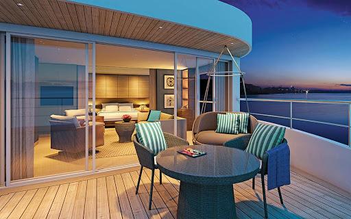 scenic-spirit-royal-panorama-suite - The Royal Panorama Suite aboard the luxury river ship Scenic Spirit.