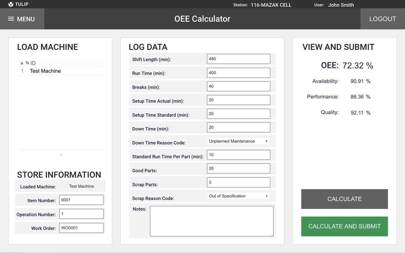 Image of an OEE calculator app