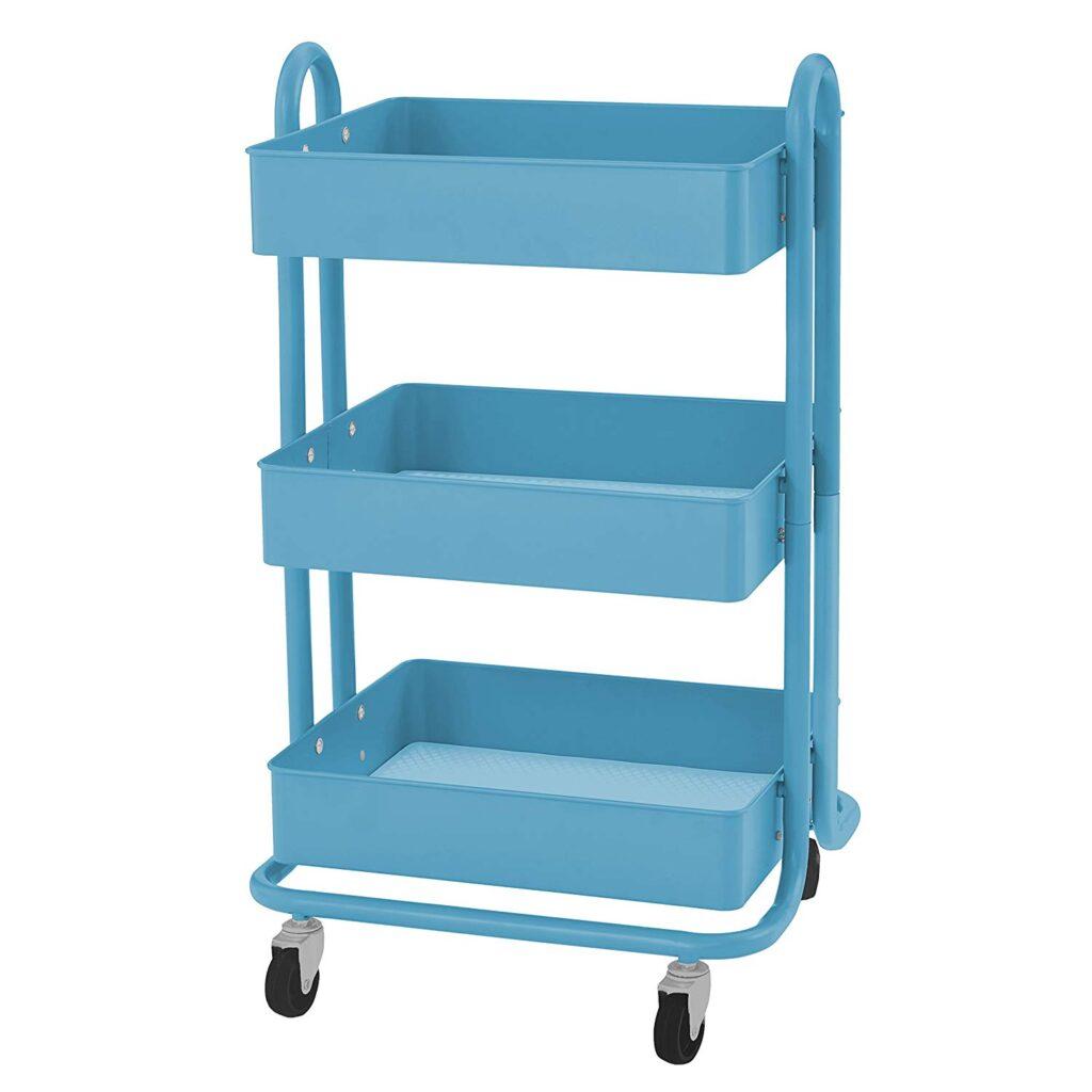blue rolling cart