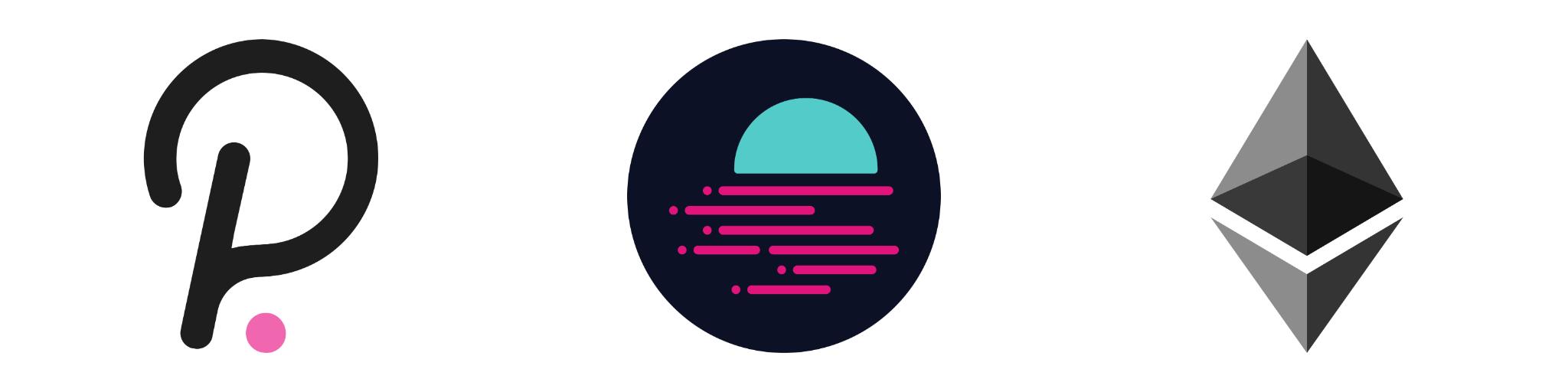 Blog Polkadot x Ethereum x GLMR Token Logo