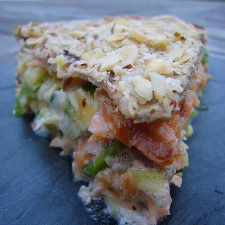 Pancake Cake with Vegetables, Smoked Salmon and Goat Cheese Recipe