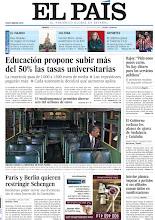 """Photo: Educación propone subir más del 50% las tasas universitarias, Rajoy pide """"un pequeño esfuerzo"""" para pagar los servicios públicos y Francia y Alemanía proponen restringir Schengen, en nuestra portada del viernes 20 de abril http://srv00.epimg.net/pdf/elpais/1aPagina/2012/04/ep-20120420.pdf"""