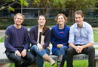 Photo: Dickins group: L-R: Oliver Le Grice, Emilia Simankowicz, Margherita Ghisi, Ross Dickins http://www.acbd.monash.org/research/dickinsgroup.html