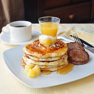 Pina Colada Pancakes with Vanilla Rum Syrup