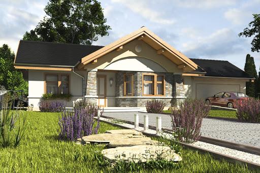 projekt Skowronek z garażem 2-st. A1