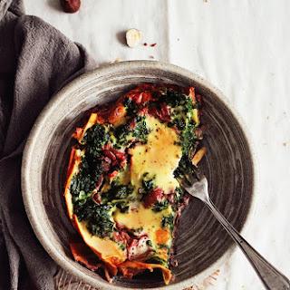 Skinny Vegetarian Lasagna with Mushroom Ragu and Spinach.