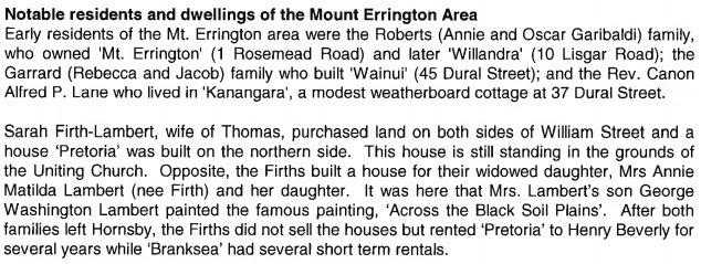 Notable residents and dwellings of the Mount Errington Area