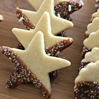 New Year's Eve Butter Cookies with Chocolate Glaze.