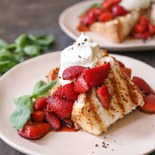 Grilled Angel Food Cake with Whipped Mascarpone and Balsamic Strawberries.