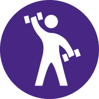 Simplified Person with handweights illustration