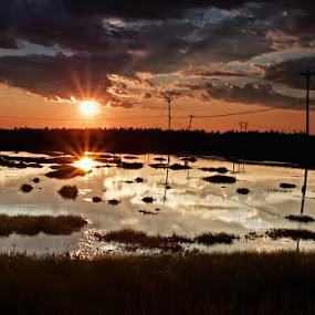 Two Suns by Daniel Schwarz - Landscapes Sunsets & Sunrises