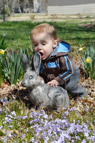 Easter by Shannon Maltbie-Davis - Public Holidays Easter ( statue, easter, bunny, mouth, flowers, toddler, garden, boy )