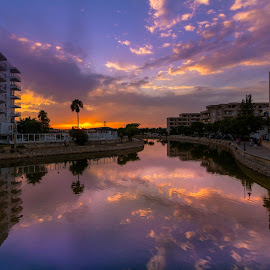 Amazing sunset in Mallorca by Katarzyna Najderek - City,  Street & Park  Vistas ( sky, spain, beautiful, color, sunset, mallorca, river )