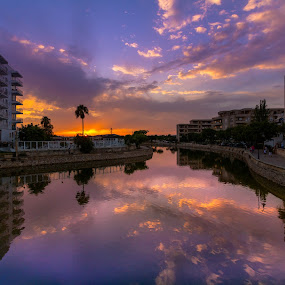 Amazing sunset in Mallorca by Katarzyna Najderek - City,  Street & Park  Vistas ( sky, spain, beautiful, color, sunset, mallorca, river )