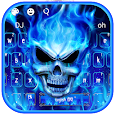 Blue Fire Flaming Skull Keyboard icon