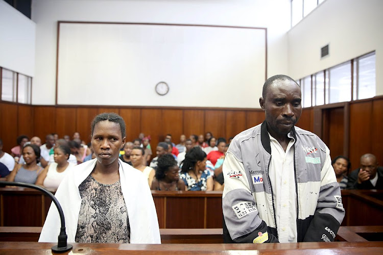 November 14, 2017.  Liziwe Ngwayishe, 33,  from Clairwood and Ali Yusaf, a 46 old Malawian during their appearance in the Durban Magistrate's Court for  for the murder of 10 year old Luyanda Msomi and his best friend, Njabulo Mankayi.